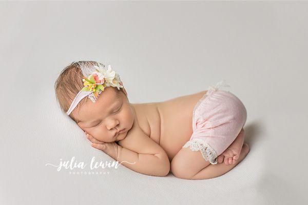 Newborn Photoprops Höschen mit Herz und Haarband Fb. Rosa