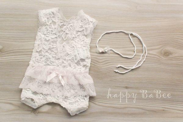 Newborn Body aus Spitze und Haarband