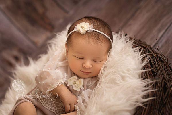 Festliches Baby Romper mit Spitze und Haarband Fb. Altrose´