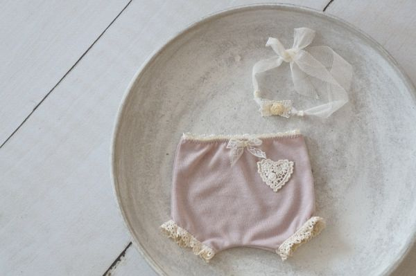 Neugeborenen Windelhöschen und Haarband für Babyfotoshooting