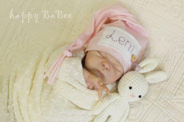Zipfelmütze für Babygirl, personalisiert mit NAME