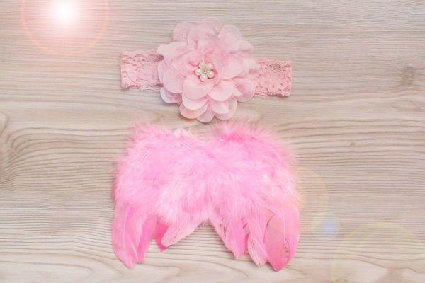 SET Engelsflügel und Haarband Farbe Pink