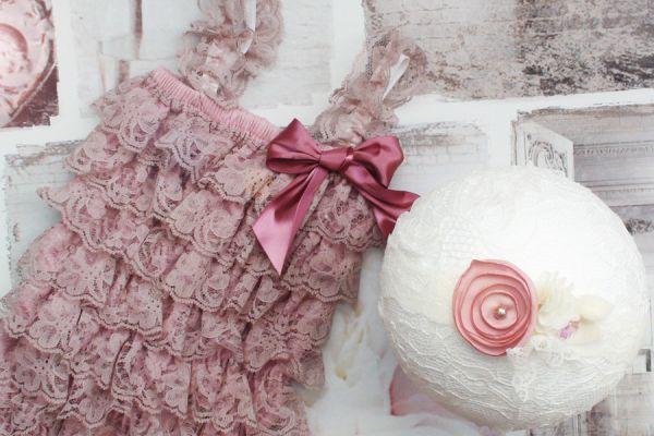Romper aus Rüschen und Haarband für Baby Fotografie
