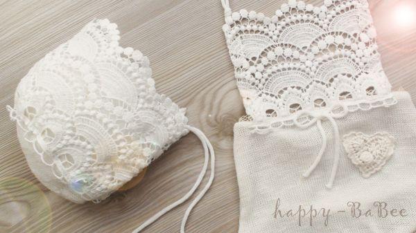 Newborn Latzhöschen und Haarband in Fb Ivory