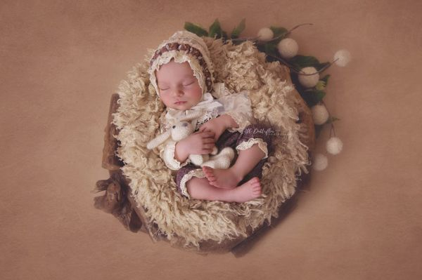 Newborn Body mit Ärmel aus Spitze Vintage Bordeaux-Creme