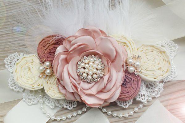 Schärpe Satinblumen Rosen Broschen Perlen Schwangerschaft Brautgürtel