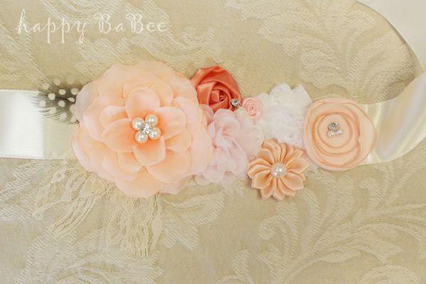 Bauchband Schärpe aus Blumen in Fb. Koralle-Rosé-Ivory