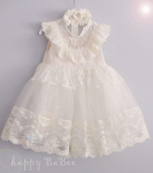 Vintage Kleid mit Spitze, Rüschen und Haarband