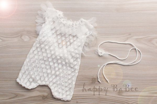 Baby Body mit Zierborte und Haarband