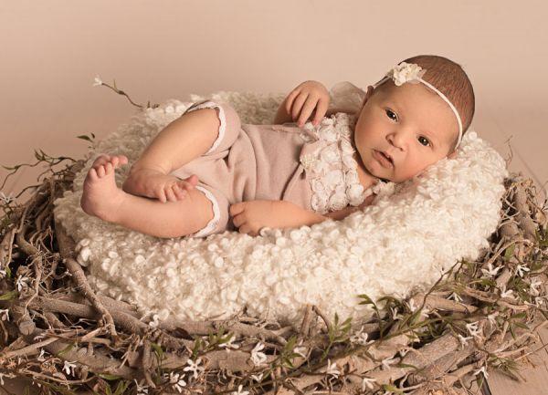 Baby Set Romper mit Spitze und Haarband