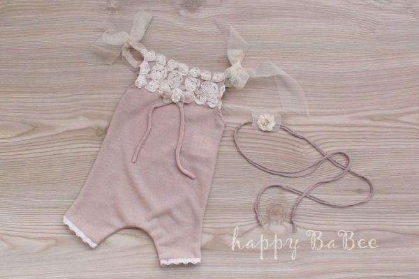 Newborn Overall und Haarban für taufe und Fotoshooting